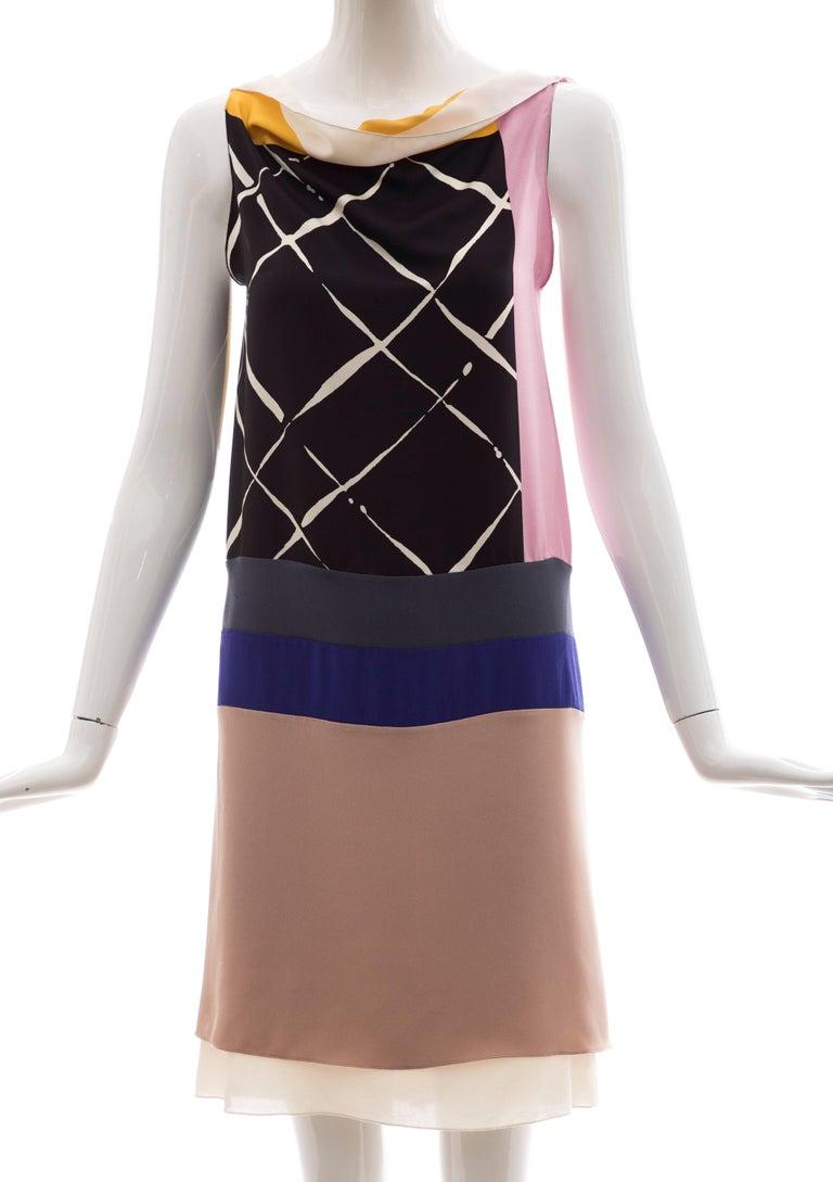 Vionnet, Spring 2010 Runway (Look 24) silk printed sleeveless sheath dress with ruffled silk chiffon back.  IT. 38, US. 4  Bust 29, Waist 30, Hips 33, Length 36