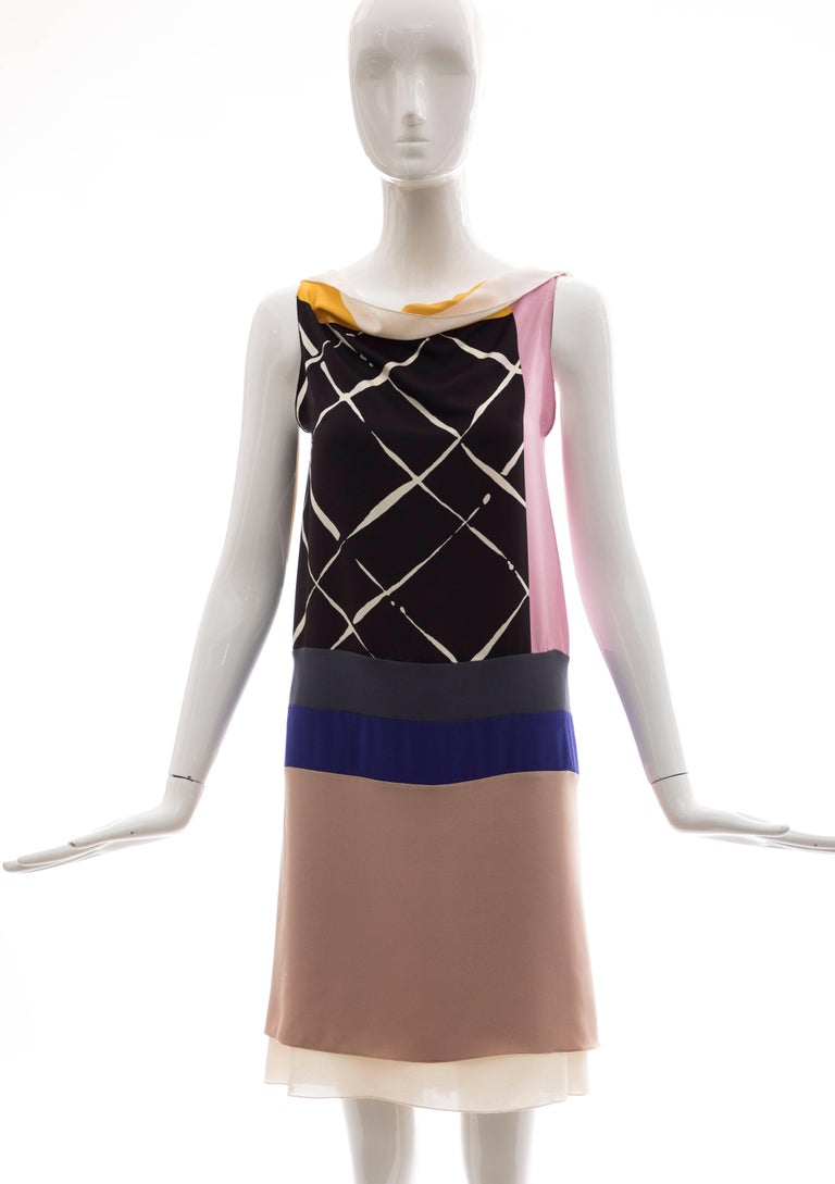 Black Vionnet Runway Silk Printed Sleeveless Sheath Dress, Spring 2010 For Sale