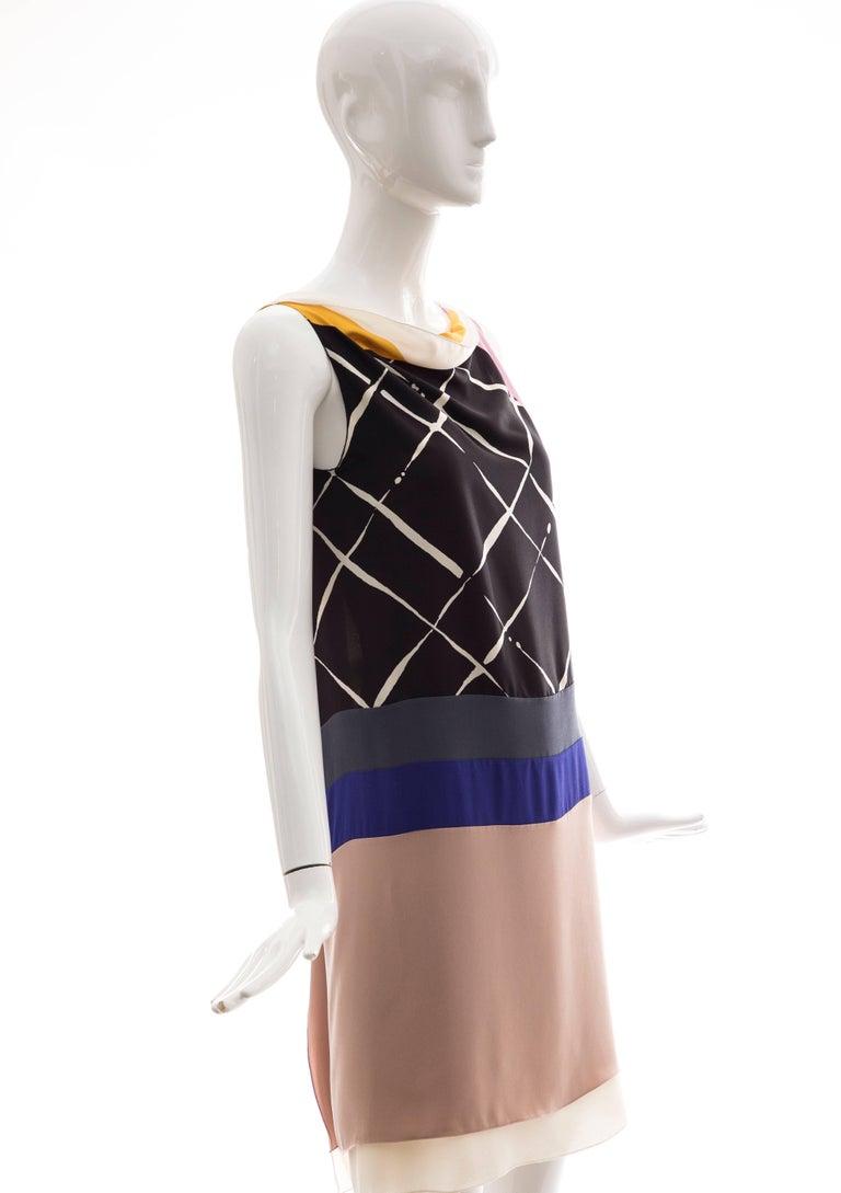 Women's Vionnet Runway Silk Printed Sleeveless Sheath Dress, Spring 2010 For Sale