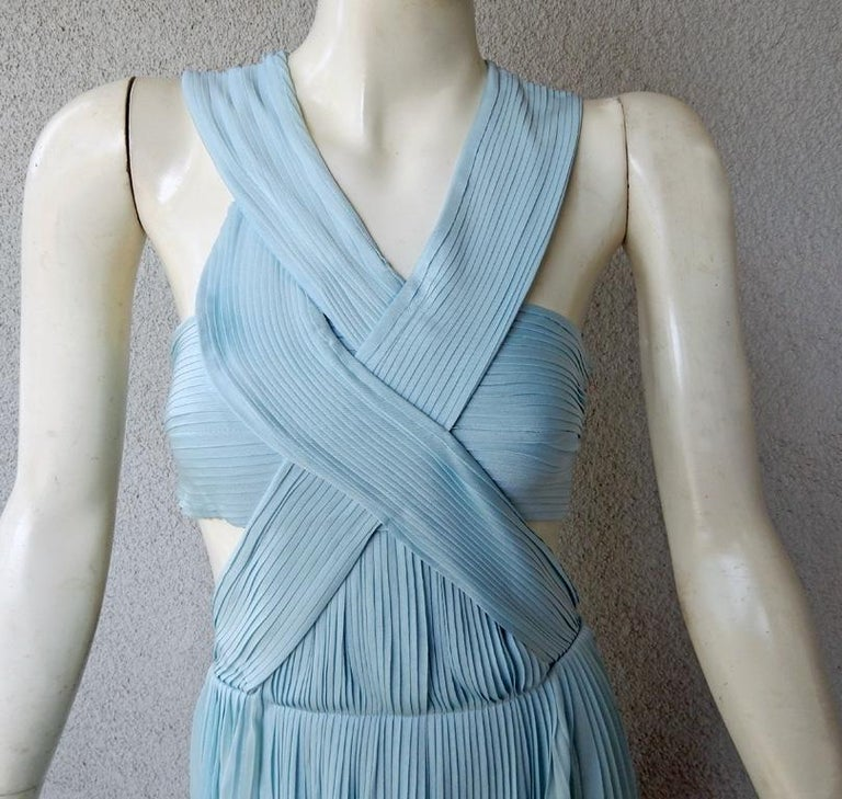 Vionnet Runway Veraline Blue Plisse Cut-Out Pleated Dress Gown   NWT In New Condition For Sale In Los Angeles, CA