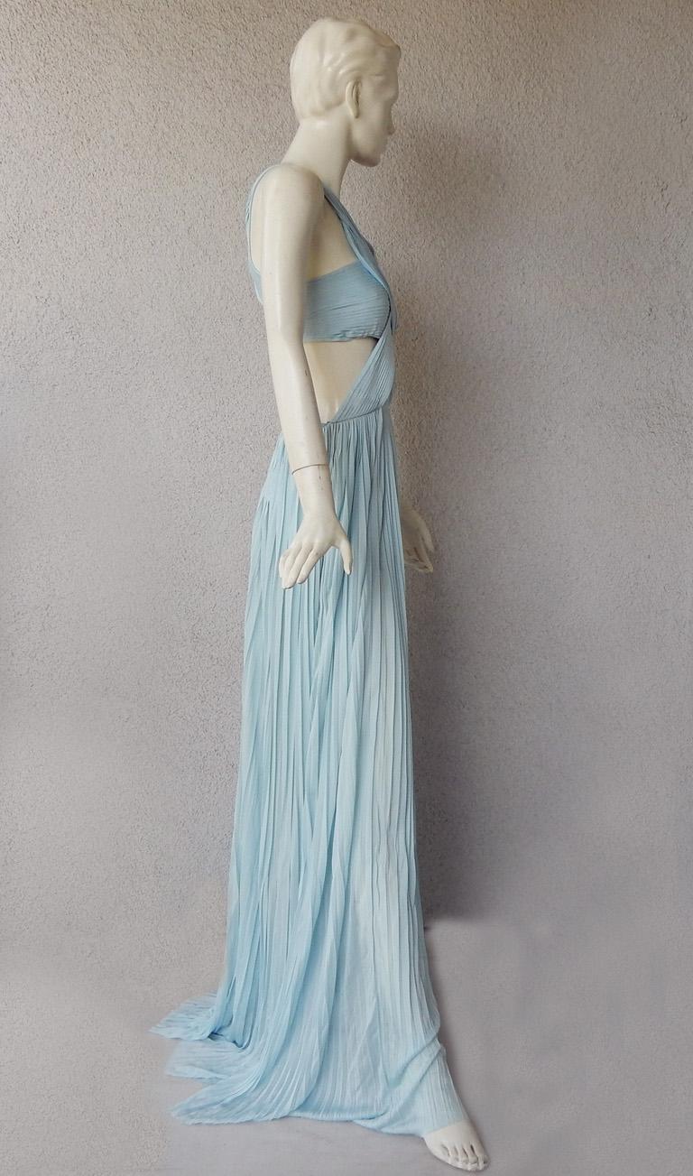 Women's Vionnet Runway Veraline Blue Plisse Cut-Out Pleated Dress Gown   NWT For Sale