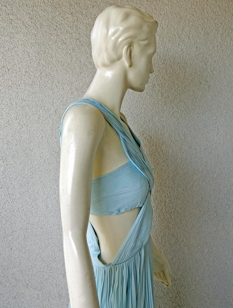 Vionnet Runway Veraline Blue Plisse Cut-Out Pleated Dress Gown   NWT For Sale 1