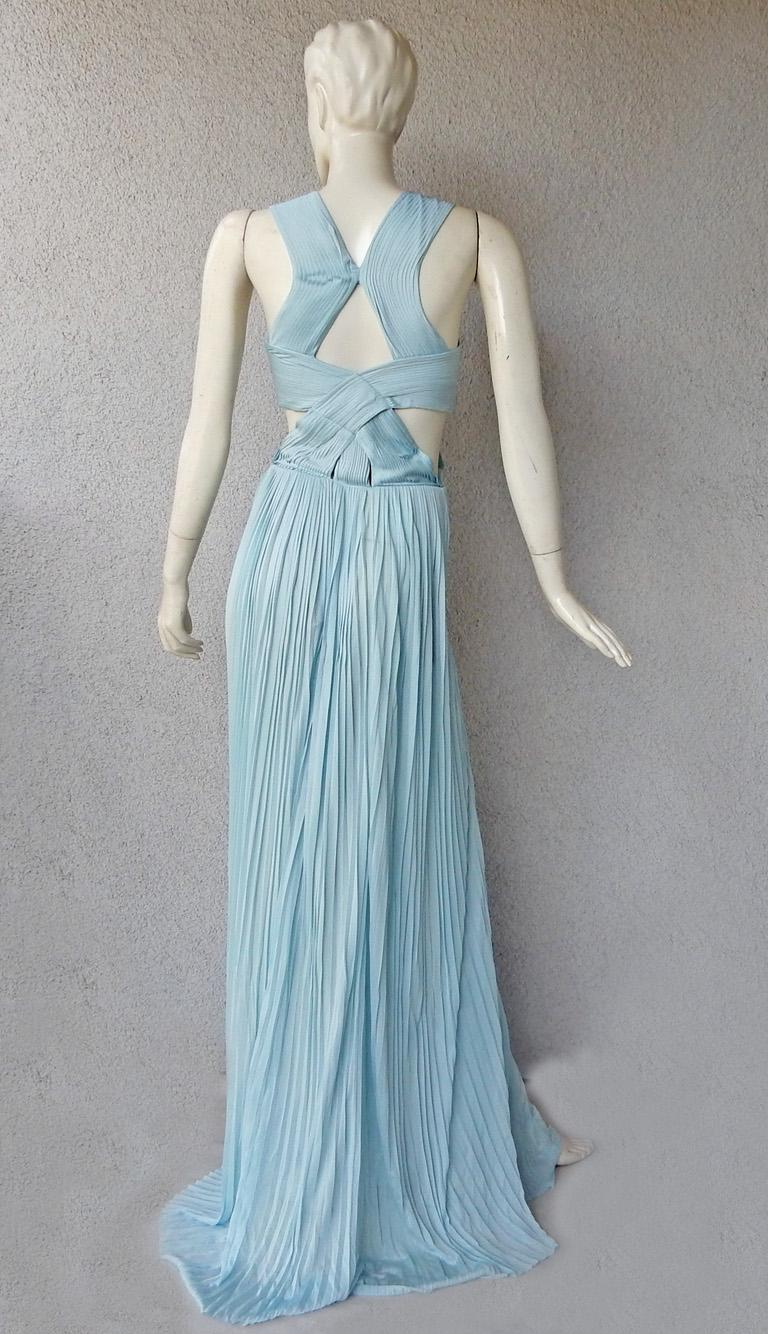 Vionnet Runway Veraline Blue Plisse Cut-Out Pleated Dress Gown   NWT For Sale 2