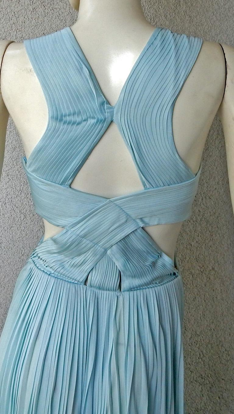 Vionnet Runway Veraline Blue Plisse Cut-Out Pleated Dress Gown   NWT For Sale 3