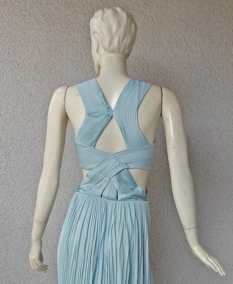 Vionnet Runway Veraline Blue Plisse Cut-Out Pleated Dress Gown   NWT For Sale 4