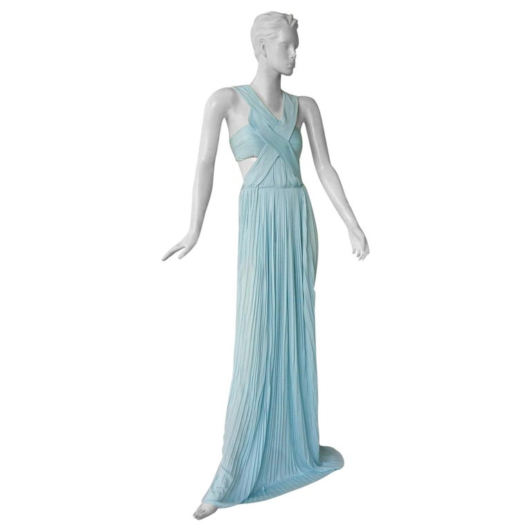 Vionnet Runway Veraline Blue Plisse Cut-Out Pleated Dress Gown   NWT For Sale