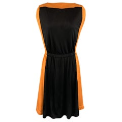 VIONNET Size 4 Black & Orange Color Block Gathered Waist Shift Dress