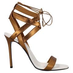 Vionnet Women Sandals Bronze, White Leather EU 40