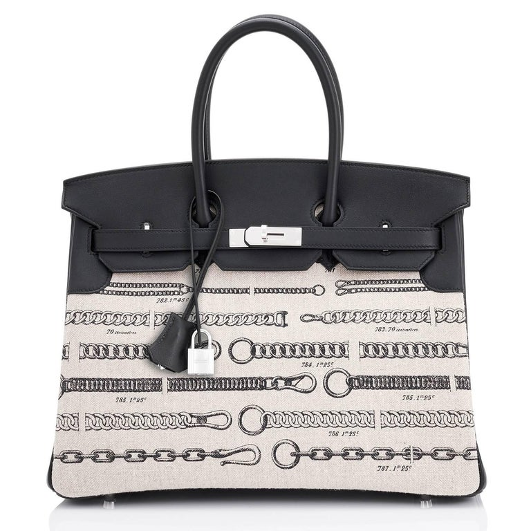Black Hermes VIP 35 De Camp Dechainee Toile Swift Chevre Limited Edition Birkin Bag For Sale