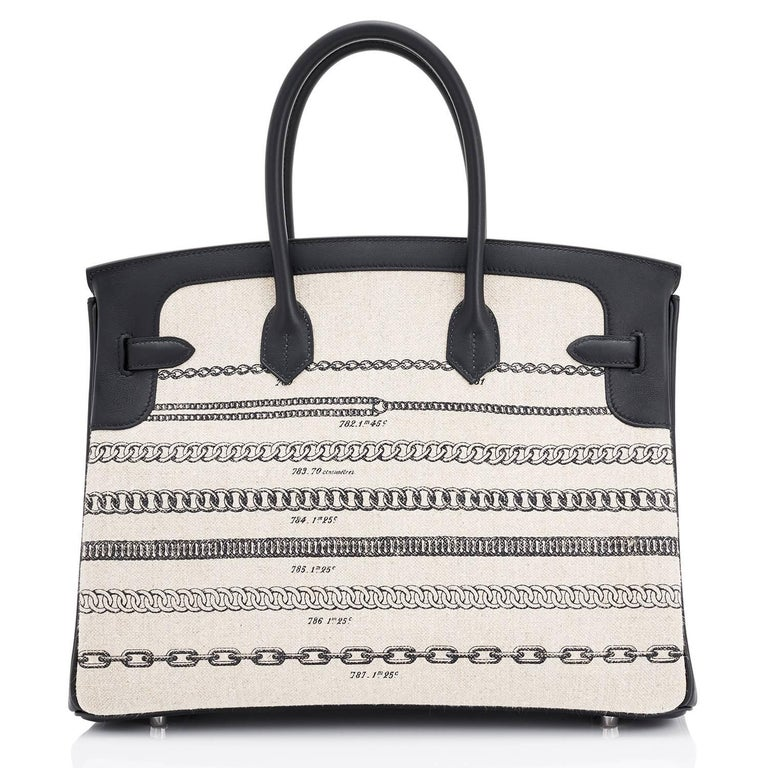 Women's or Men's Hermes VIP 35 De Camp Dechainee Toile Swift Chevre Limited Edition Birkin Bag For Sale