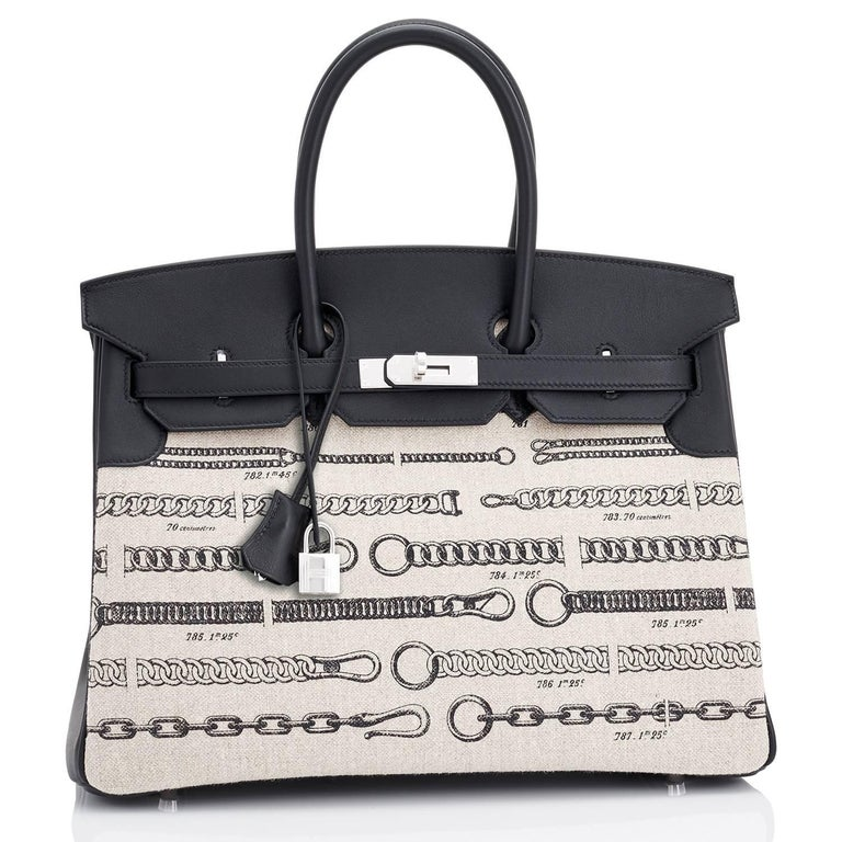 Hermes VIP 35 De Camp Dechainee Toile Swift Chevre Limited Edition Birkin Bag For Sale 1