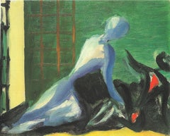 The Meeting - Original Oil on Canvas by Virgilio Guidi - 1947