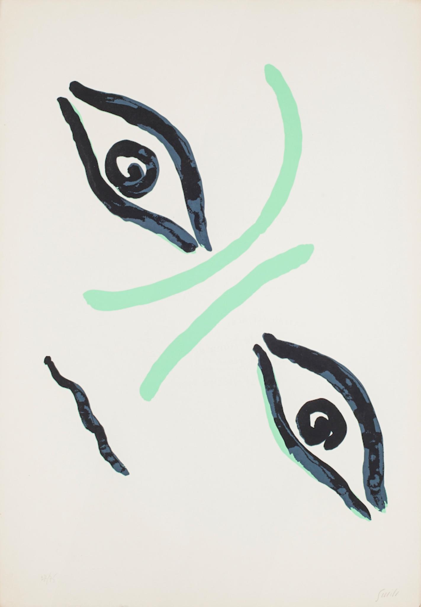 Countess Portrait - Original Lithograph by Virgilio Guidi - 1960s