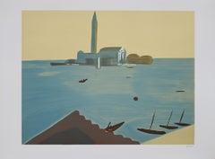 Venice - Original Lithograph by Virgilio Guidi - 1982