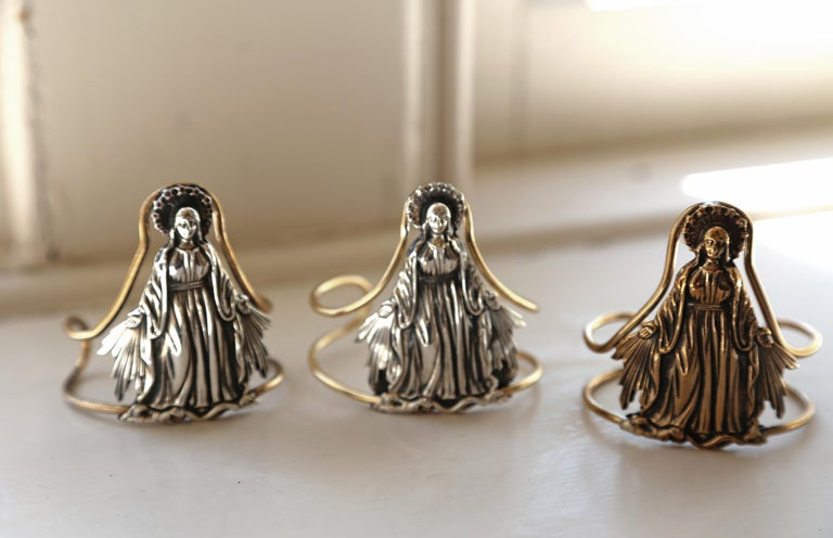 Virgin Mary Cuff Bangle Statement Silver Brass J Dauphin In New Condition For Sale In Los Angeles, CA