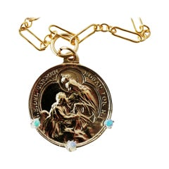 Virgin Mary Medal Coin Pendant Opal Bronze Gold Filled Chain Necklace, J Dauphin