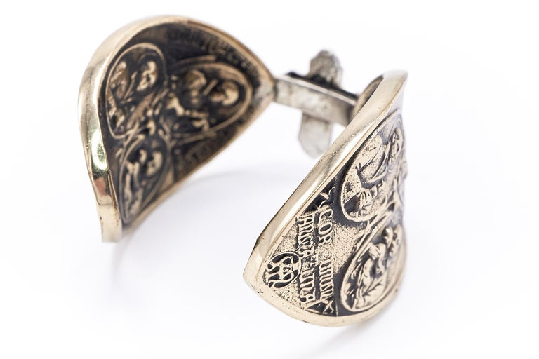 Women's Virgin Mary Medal Cross Statement Arm Cuff Arm Bronze Silver J Dauphin For Sale