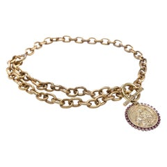 Virgin Mary Medal Pink Rhinestone Choker Chain Necklace Gold Plated J Dauphin