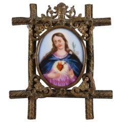 Virgin Mary Painting on Porcelain Framed in Gold Gilded Bronze Pendant, Spain