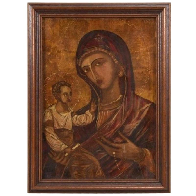 Virgin Mother Mary Icon, Reverse Painting on Glass, Gold Leaf, Oil Paints