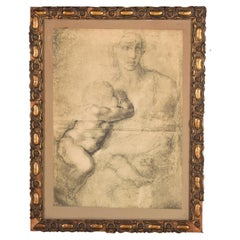 Virgin with Child, Framed Print, 20th Century, After Michelangelo