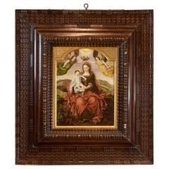 """Virgin with Child"", Oil on Panel, Spanish School, 16th Century"
