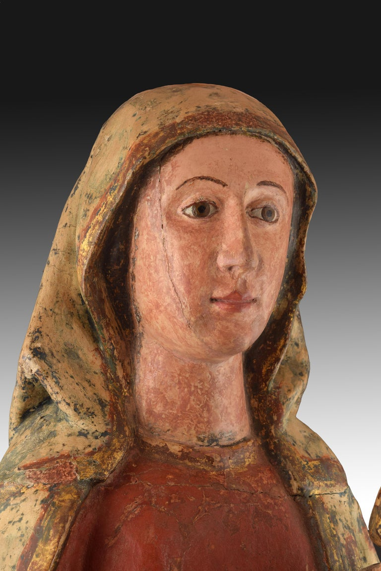 Renaissance Virgin with Child, Polychrome Wood, Spain, circa End 15th Century For Sale