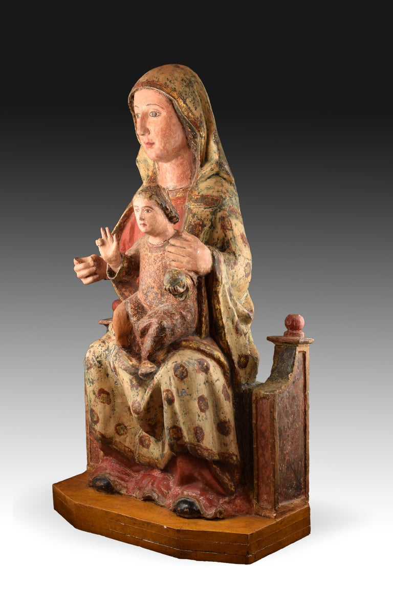 Hand-Painted Virgin with Child, Polychrome Wood, Spain, circa End 15th Century For Sale