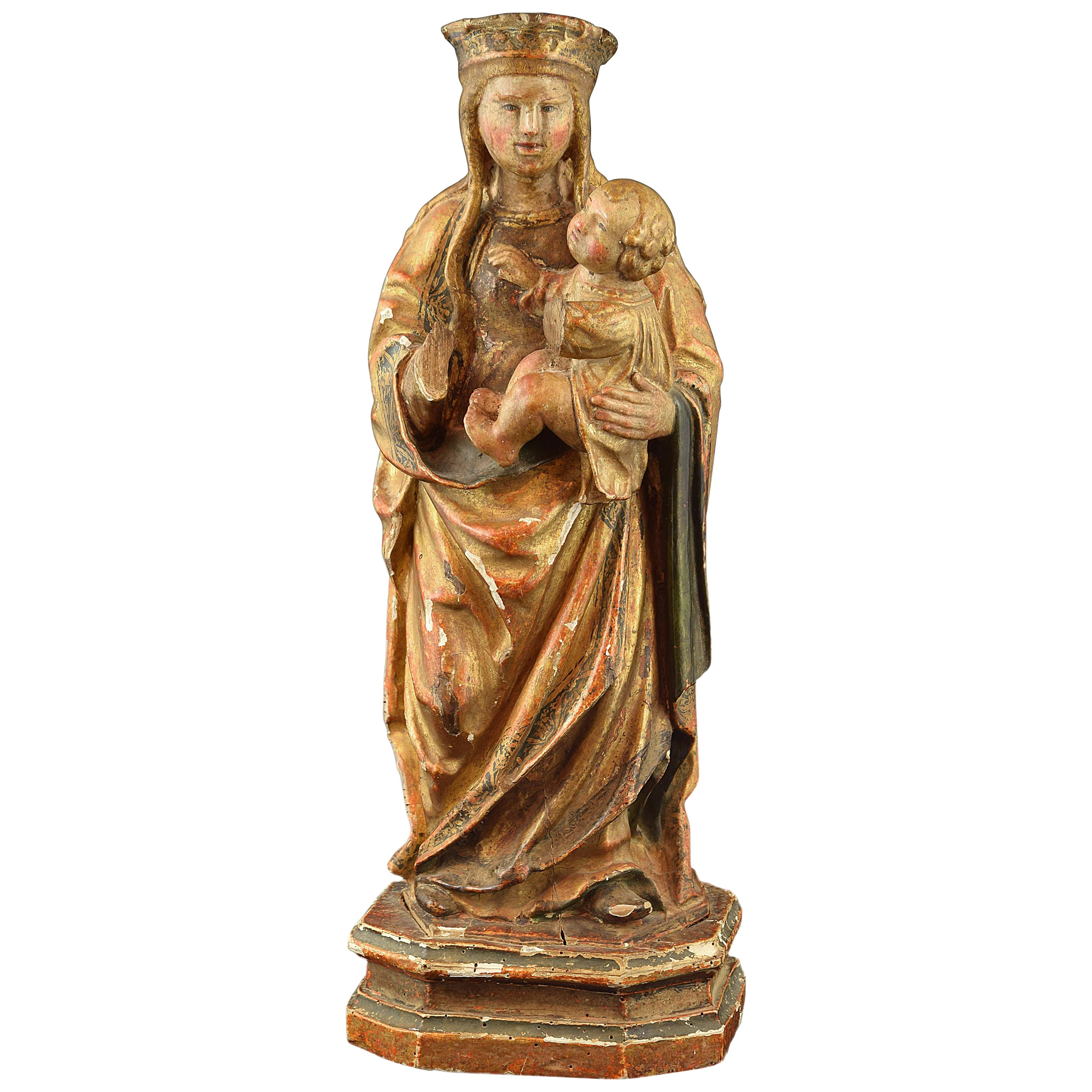 """""""Virgin with Child"""", Polychromed Wood, circa First Half of the 16th Century"""