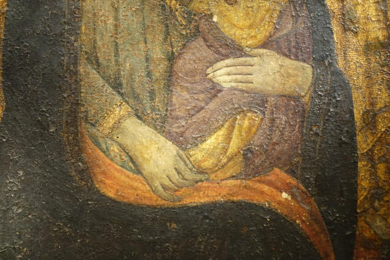 Primitive Virgin with Child Tempera and Gold on Panel, circa 1400 For Sale