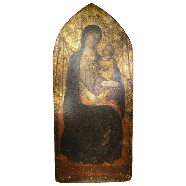 Virgin with Child Tempera and Gold on Panel, circa 1400 For Sale