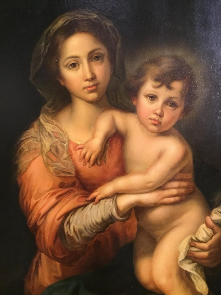 Italian Virgin with Christ Child Oil Painting after Bartholome Esteban Murillo For Sale