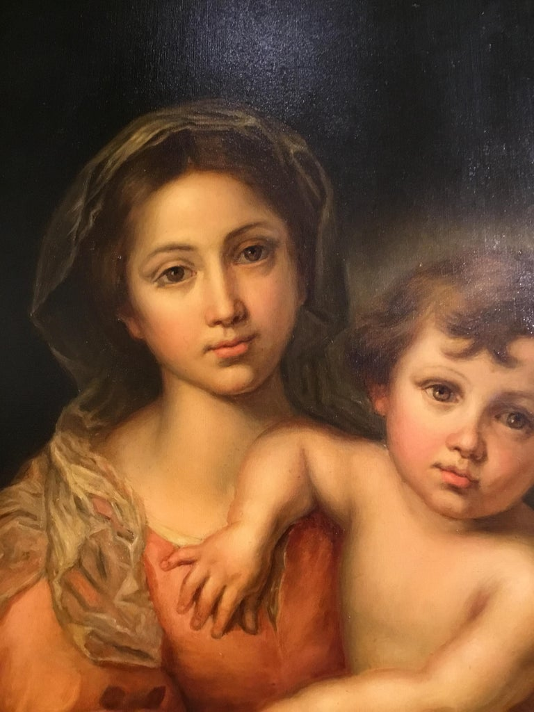 19th Century Virgin with Christ Child Oil Painting after Bartholome Esteban Murillo For Sale