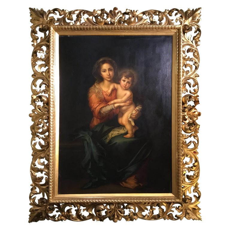 Virgin with Christ Child Oil Painting after Bartholome Esteban Murillo For Sale