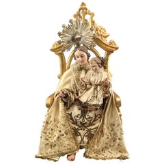 Virgin with Cild on Throne Wood, Metal, Textile, Etc. Spain, 19th Century