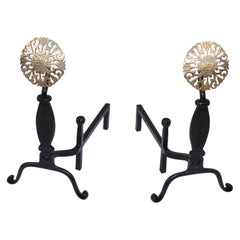 Virginia Metal-Crafters Iron with Brass Medallions Andirons