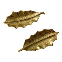 Virginia Metalcrafters Brass Holly Leafs, Pair