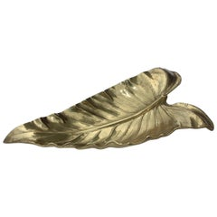 Virginia Metalcrafters Large Calla Lily Brass Leaf Tray
