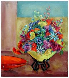 Mid Century Yellow Vase of Flowers Still Life