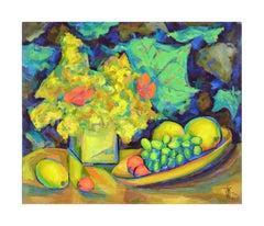 Mid Century Floral & Fruit Still Life by Virginia Rogers