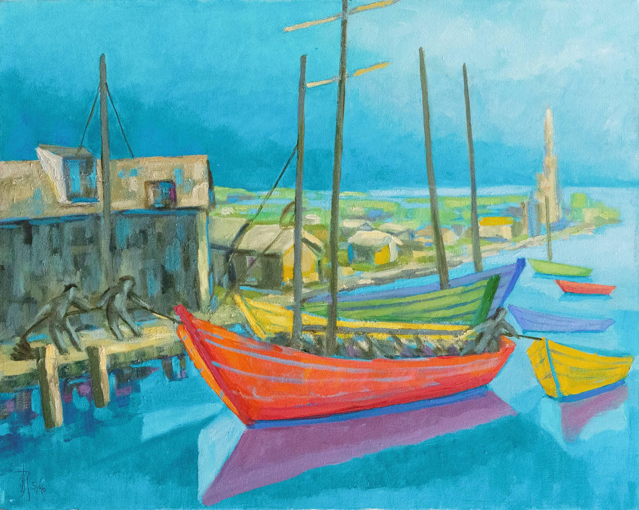 'Gloucester Harbor', Post Impressionist Carmel, California woman artist, PAFA