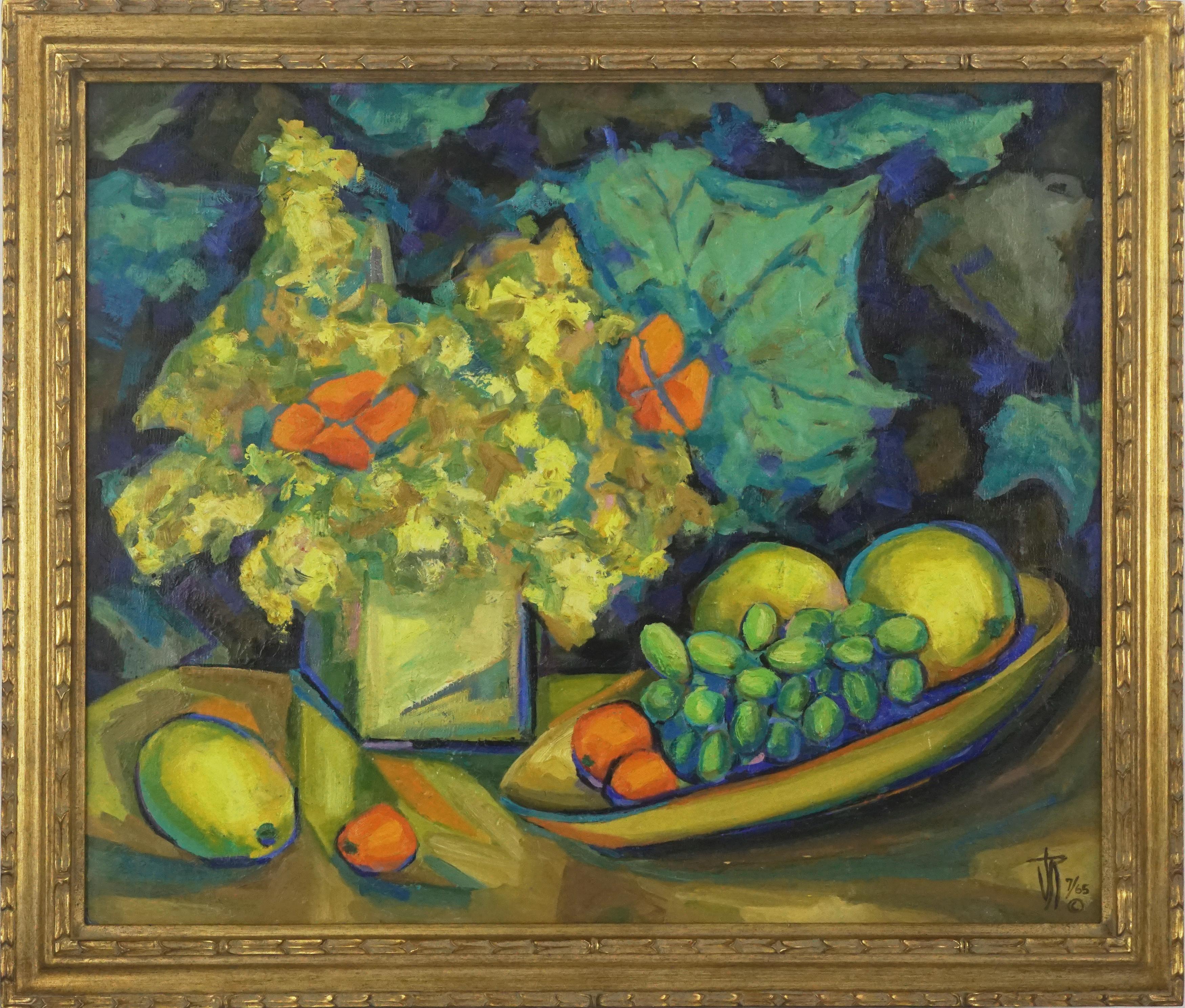 Mid Century Fauvist Floral & Fruit Still Life