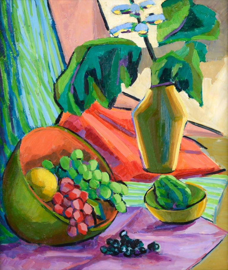 Mid Century Modern Grapes and Flowers Still Life - Painting by Virginia Sevier Rogers