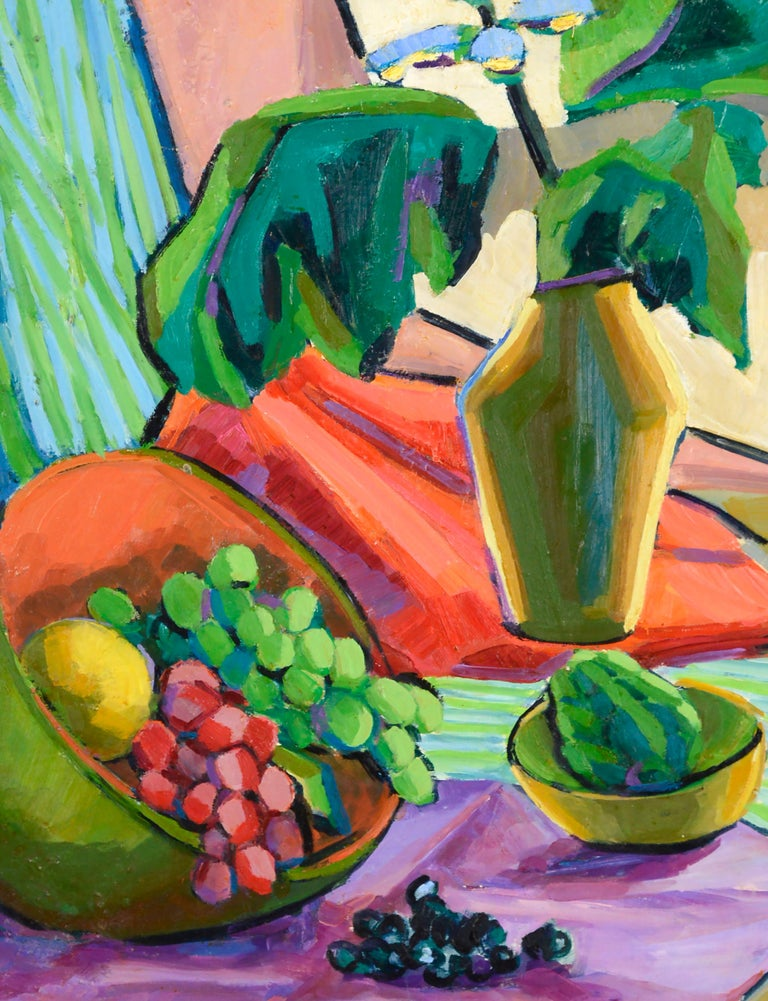 Mid Century Modern Grapes and Flowers Still Life - Brown Still-Life Painting by Virginia Sevier Rogers