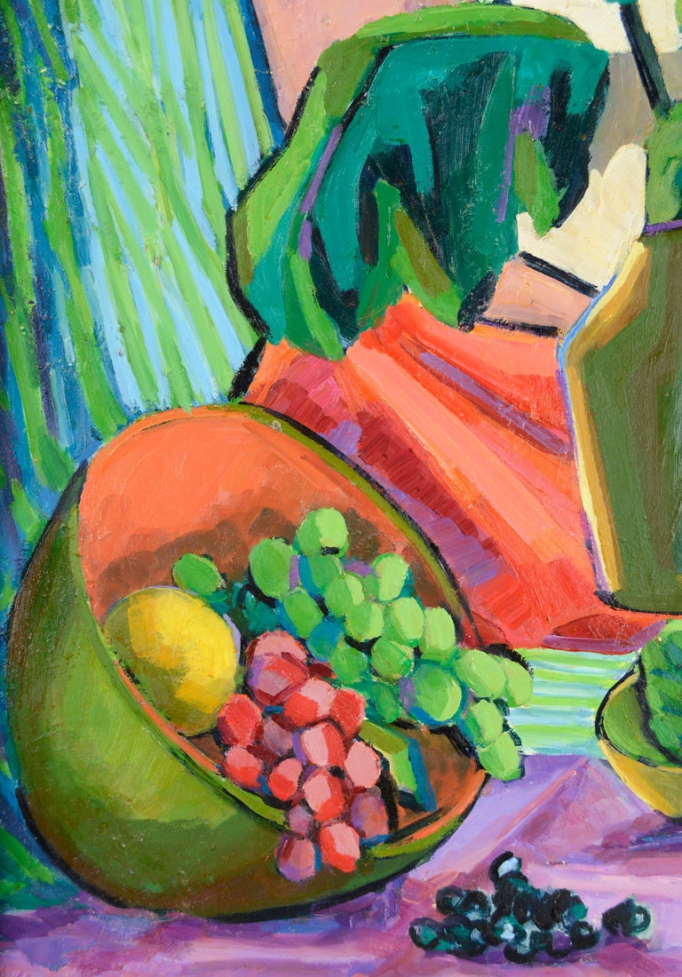 Colorful modernist still life of red and green grapes in a bowl next to a vase of flowers by California artist Virginia Sevier Rogers (American, 1917-2015). Unsigned. Unframed. From her estate and a collection of her work. Image size: 24