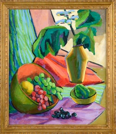 Mid Century Modern Grapes and Flowers Still Life