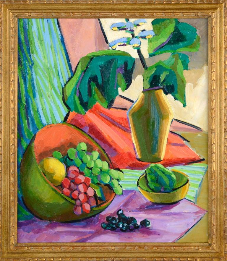 Virginia Sevier Rogers Still-Life Painting - Mid Century Modern Grapes and Flowers Still Life