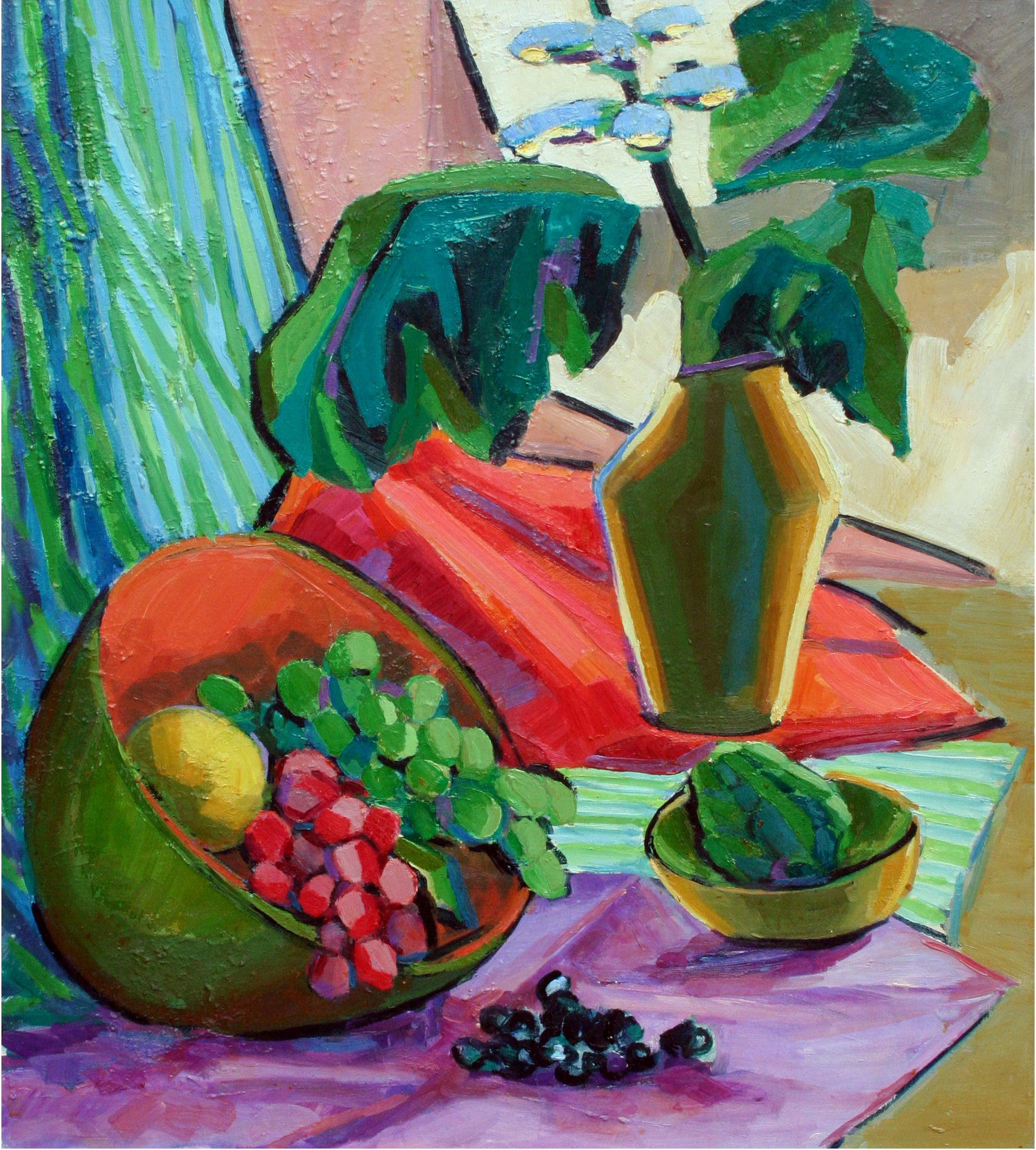 Mid Century Modernist Grapes and Flowers Still Life
