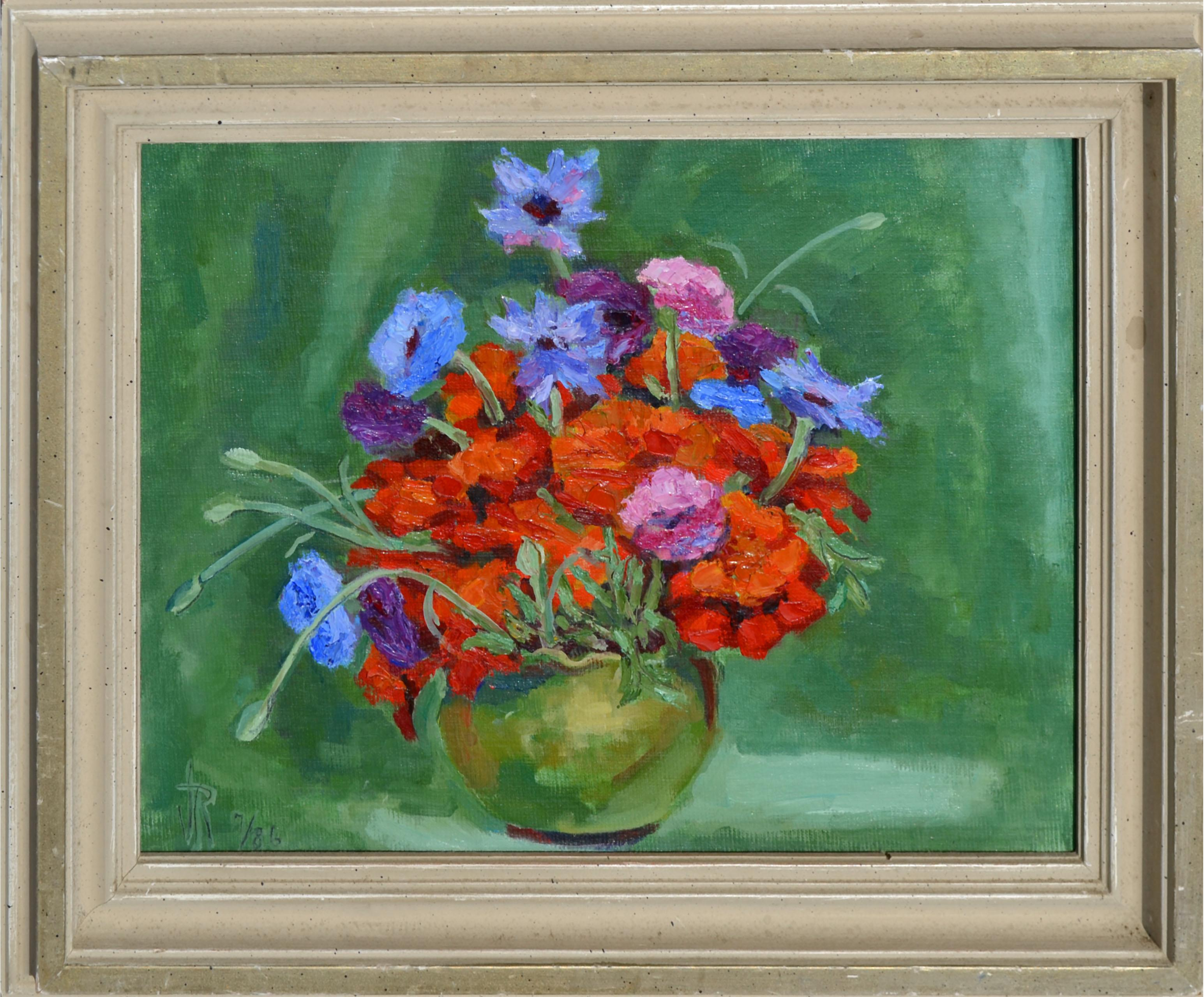 Red and Blue Bouquet Still-Life