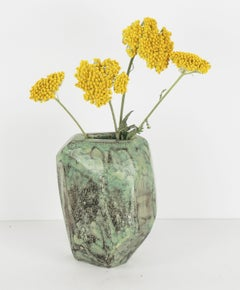 1950's Organic Modern Ceramic Turquoise Abstract Sculpture / Pottery Art Vase
